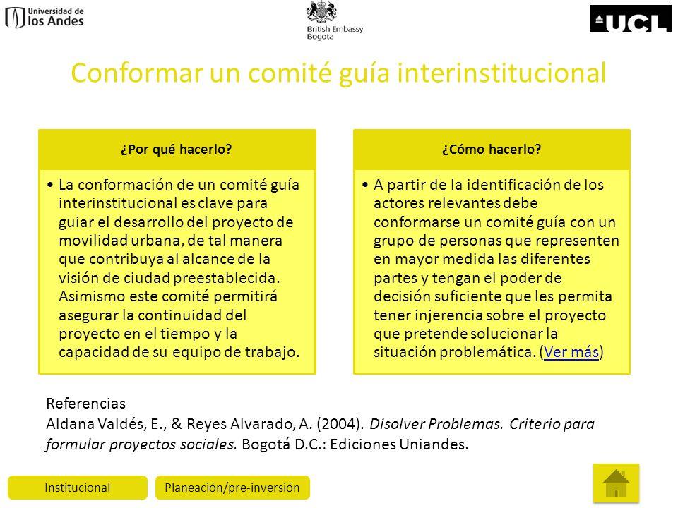 Conformar un comité guía interinstitucional