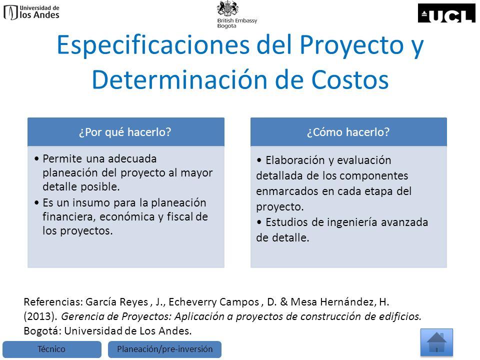 Especificaciones del Proyecto y Determinación de Costos