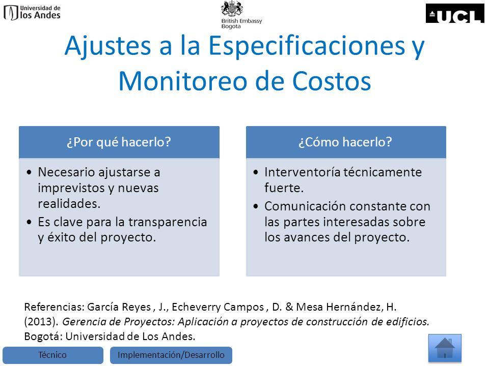 Ajustes a la Especificaciones y Monitoreo de Costos