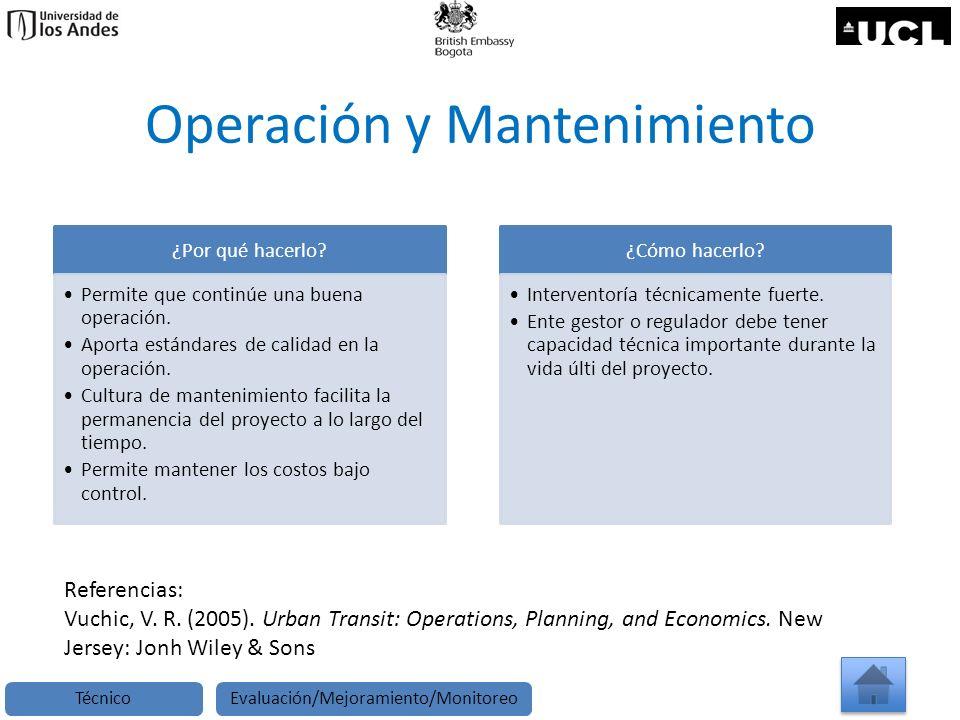 Operación y Mantenimiento