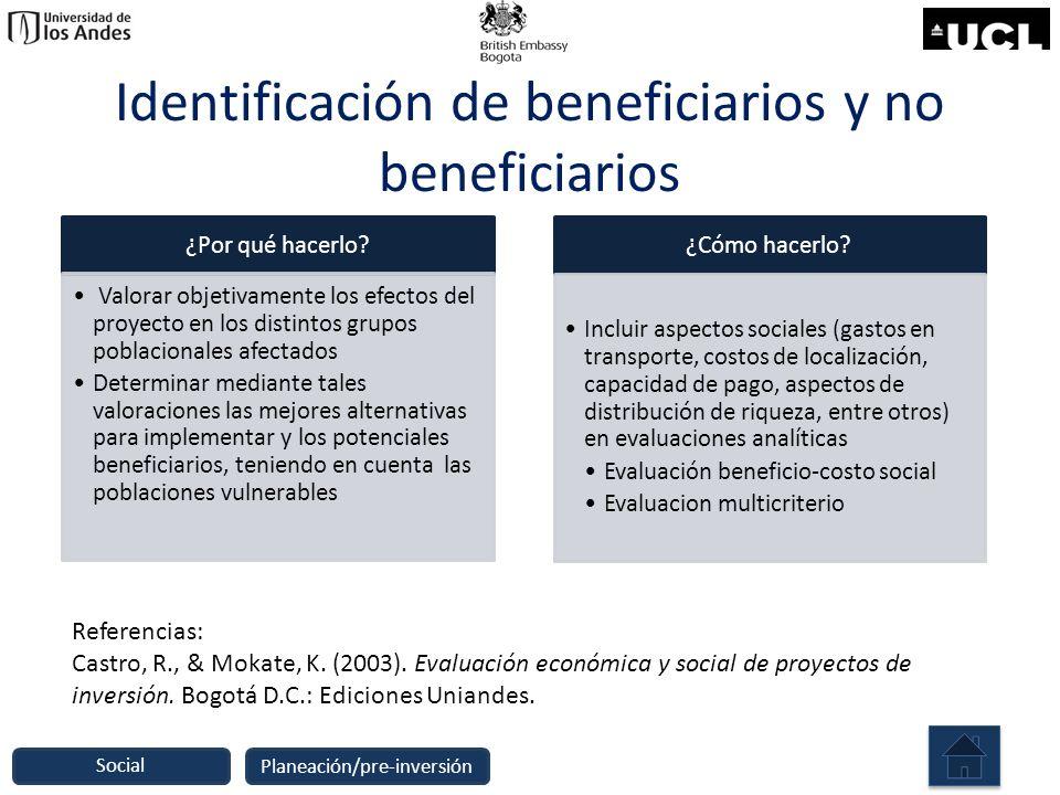 Identificación de beneficiarios y no beneficiarios