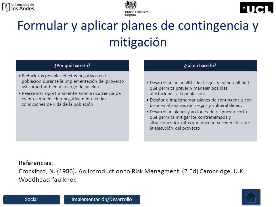 Formular y aplicar planes de contingencia y mitigación