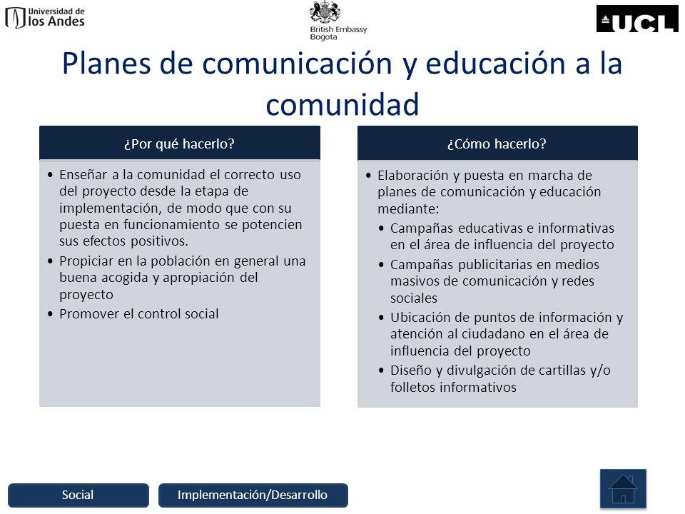 Planes de comunicación y educación a la comunidad