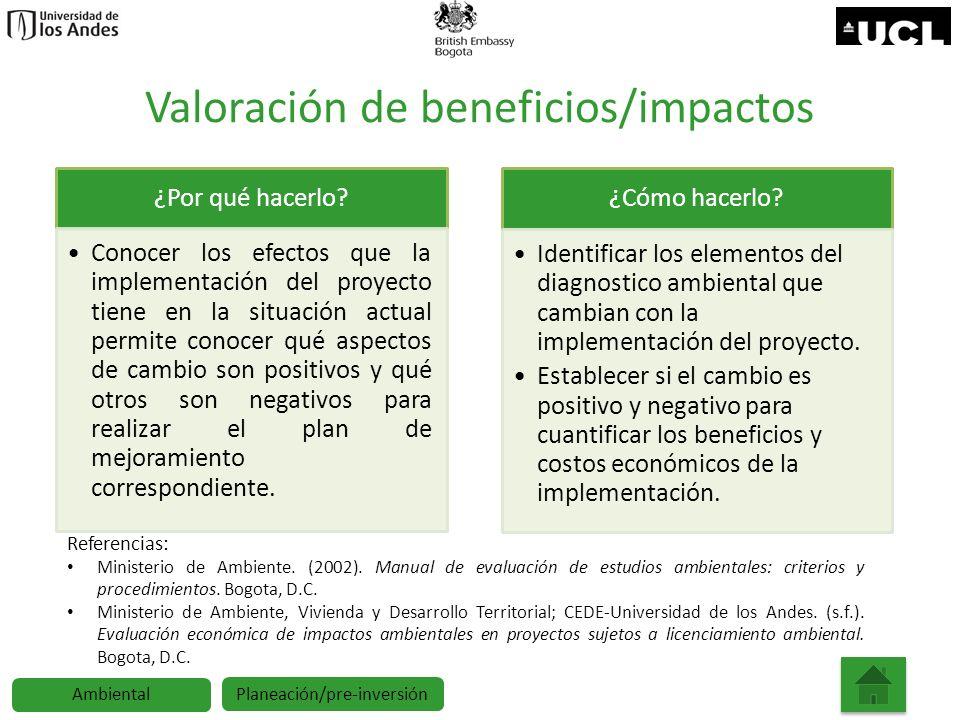Valoración de beneficios/impactos