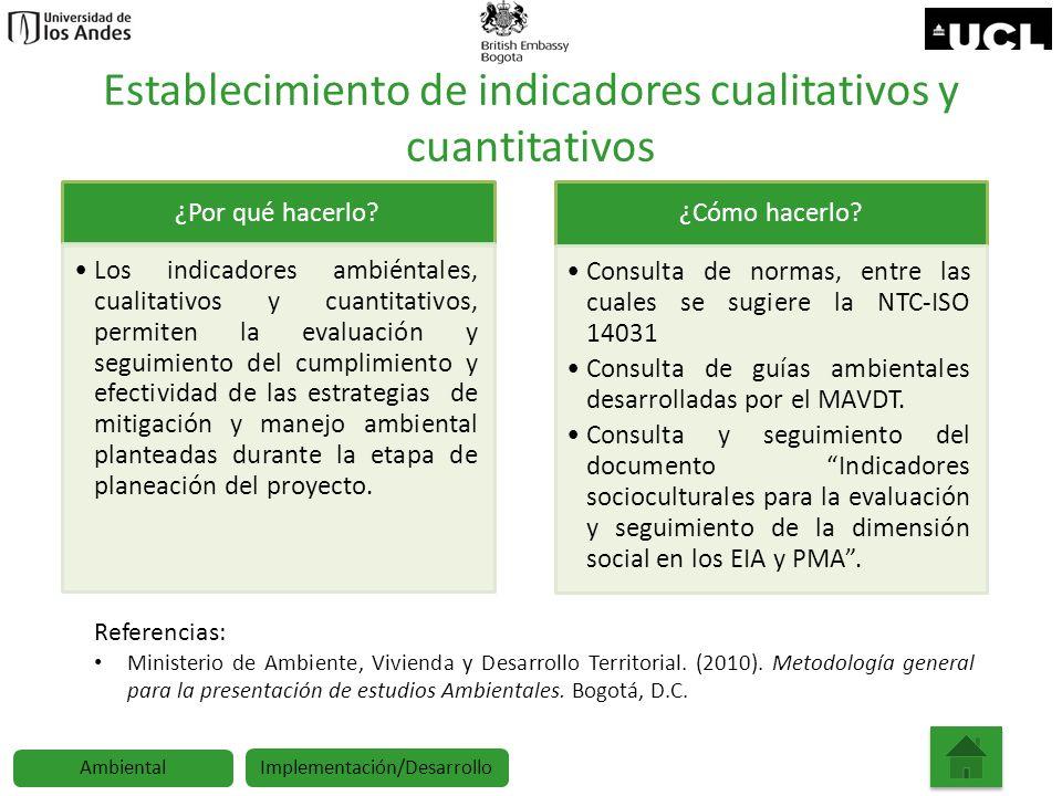 Establecimiento de indicadores cualitativos y cuantitativos