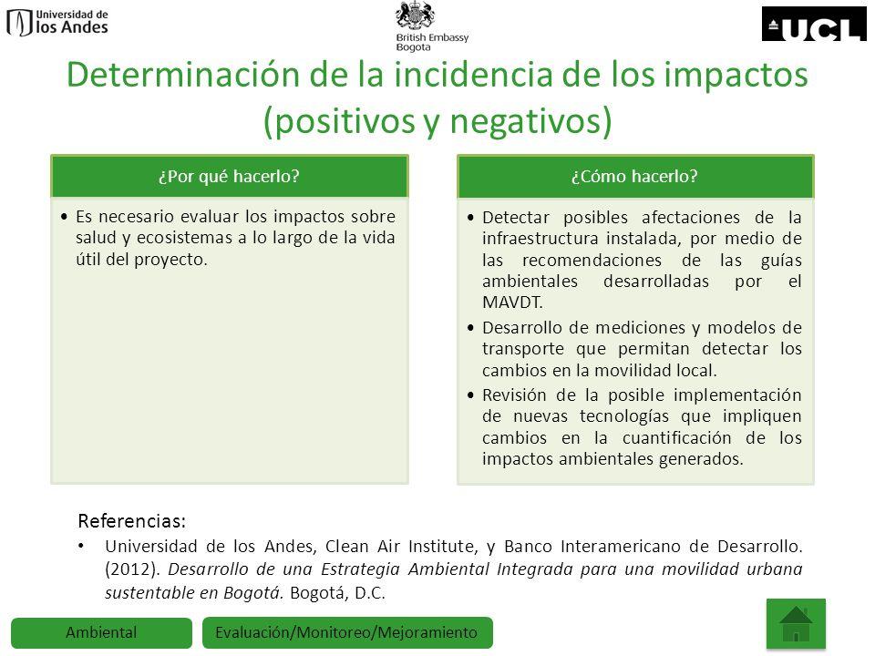 Determinación de la incidencia de los impactos (positivos y negativos)