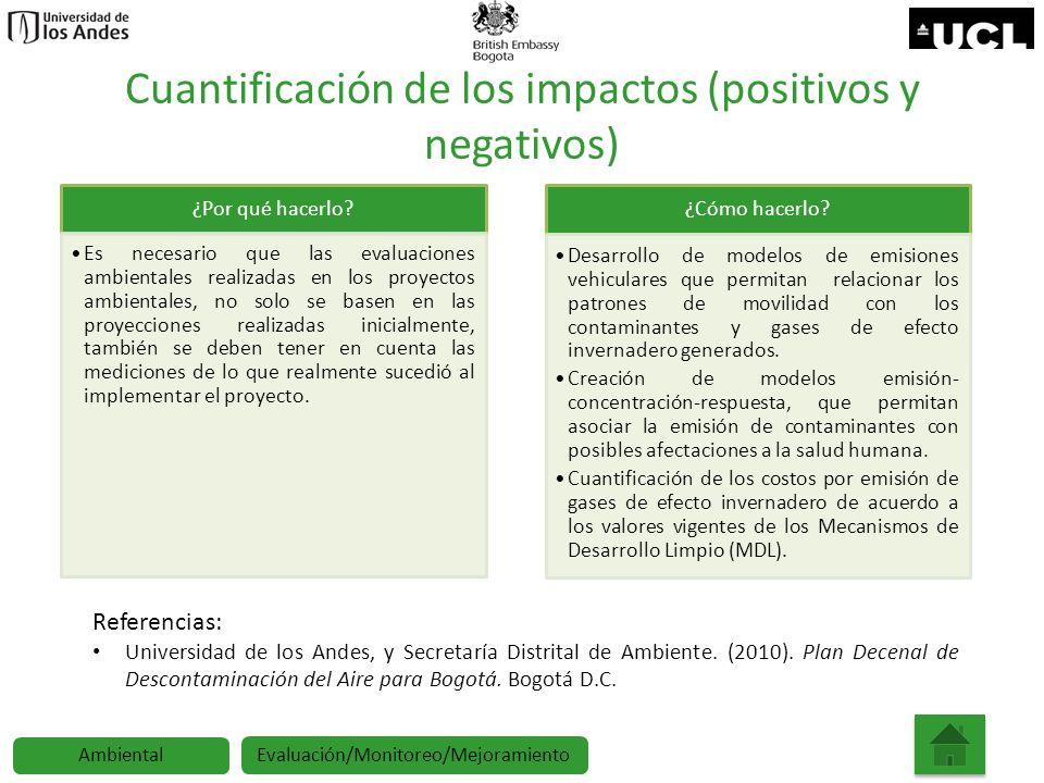 Cuantificación de los impactos (positivos y negativos)