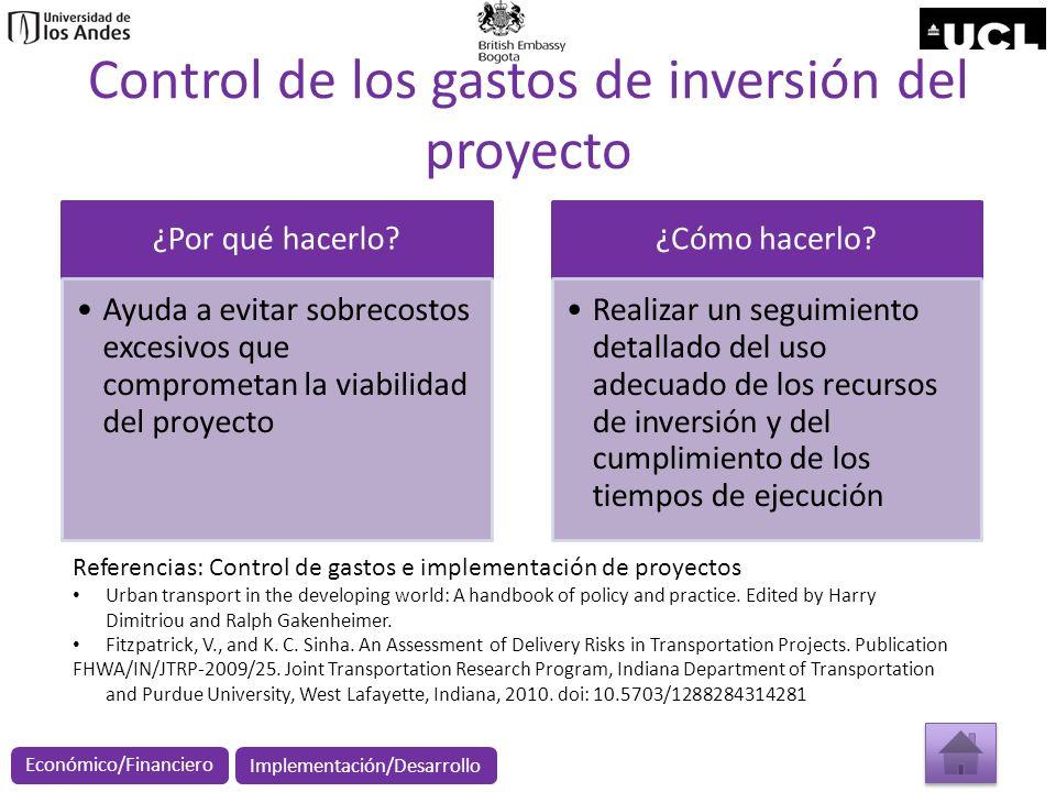 Control de los gastos de inversión del proyecto