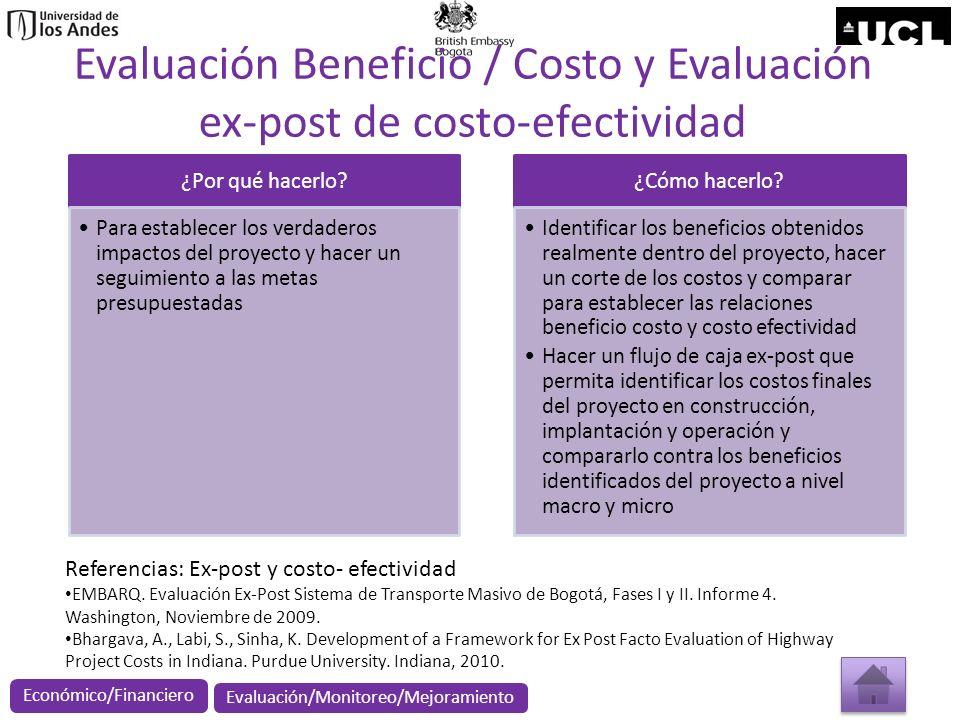 Evaluación Beneficio / Costo y Evaluación ex-post de costo-efectividad