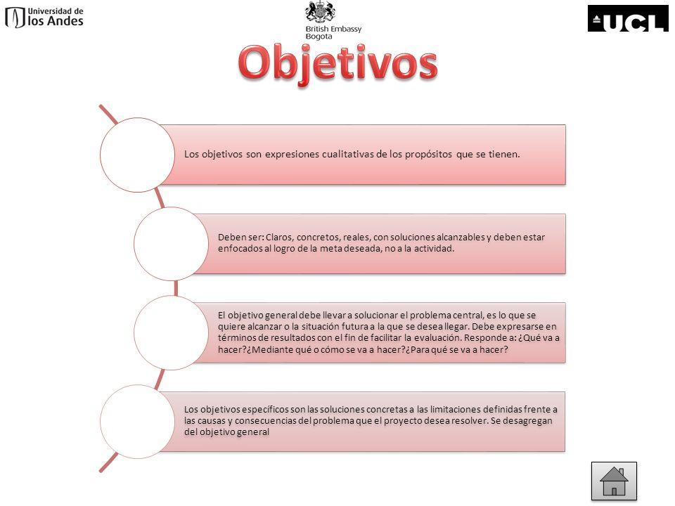 Objetivos Los objetivos son expresiones cualitativas de los propósitos que se tienen.