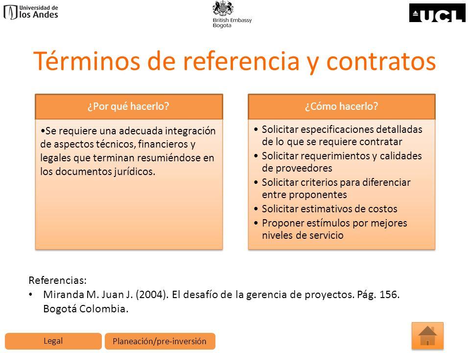 Términos de referencia y contratos