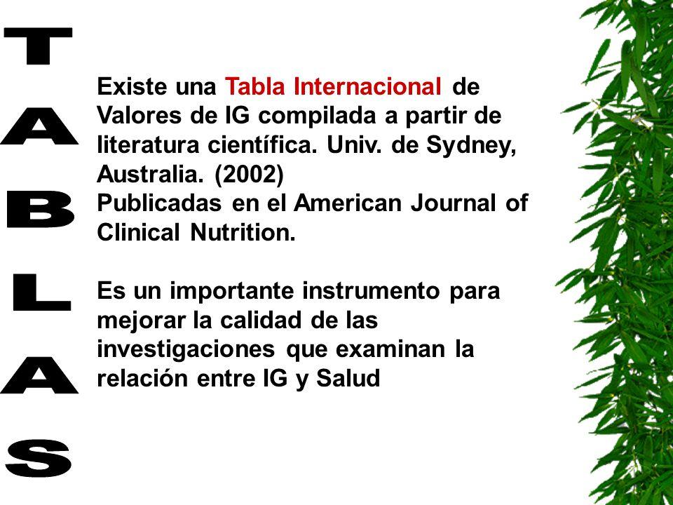 Existe una Tabla Internacional de Valores de IG compilada a partir de literatura científica. Univ. de Sydney, Australia. (2002) Publicadas en el American Journal of Clinical Nutrition.