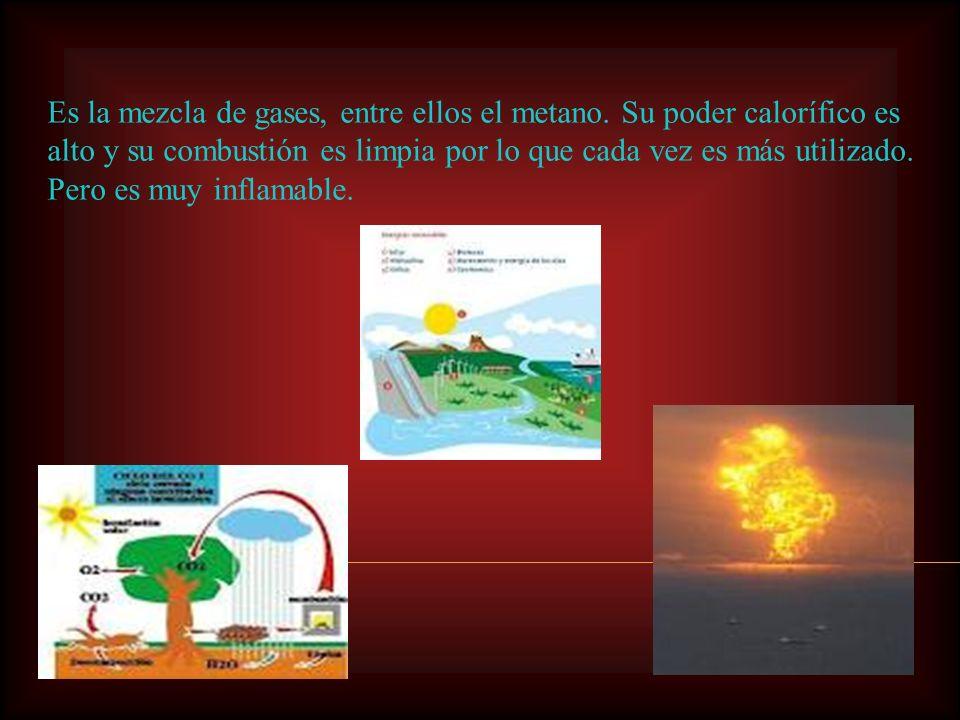 Es la mezcla de gases, entre ellos el metano