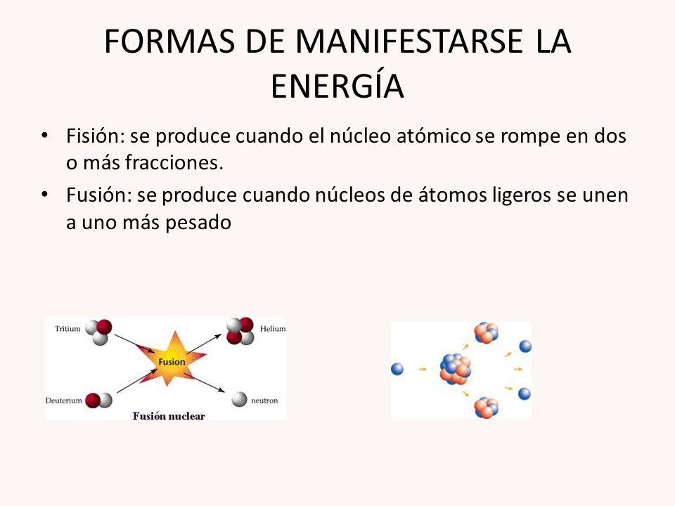 FORMAS DE MANIFESTARSE LA ENERGÍA