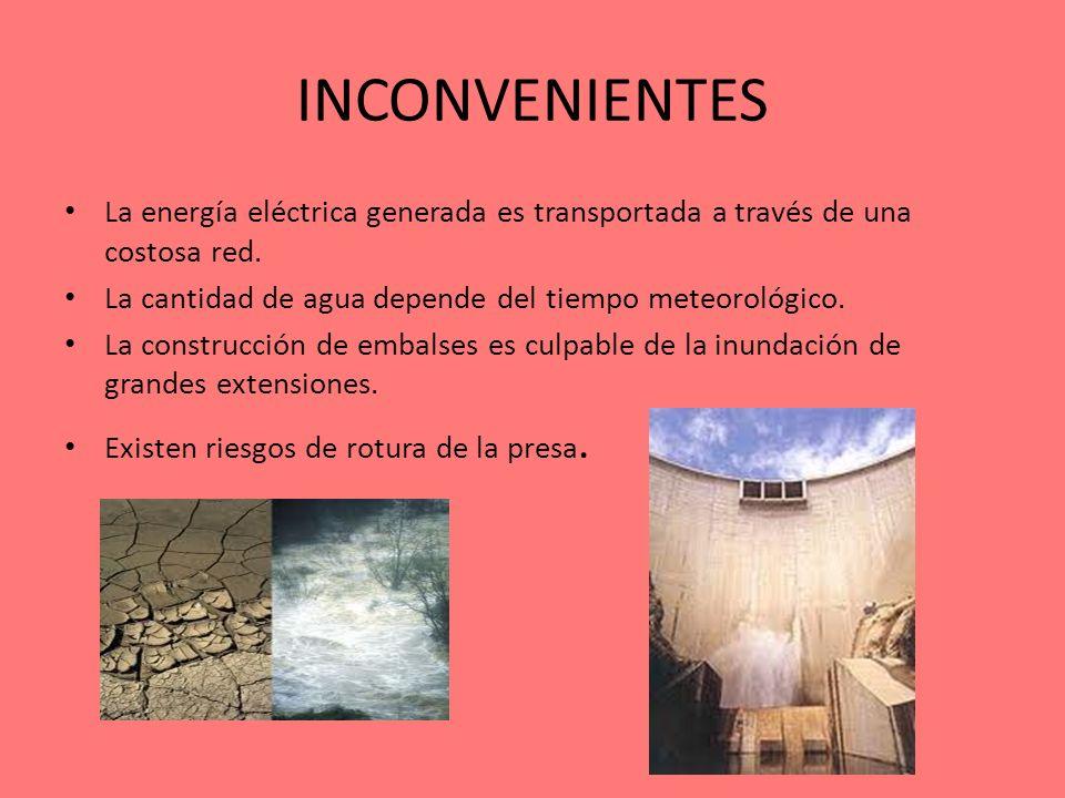 INCONVENIENTES La energía eléctrica generada es transportada a través de una costosa red. La cantidad de agua depende del tiempo meteorológico.