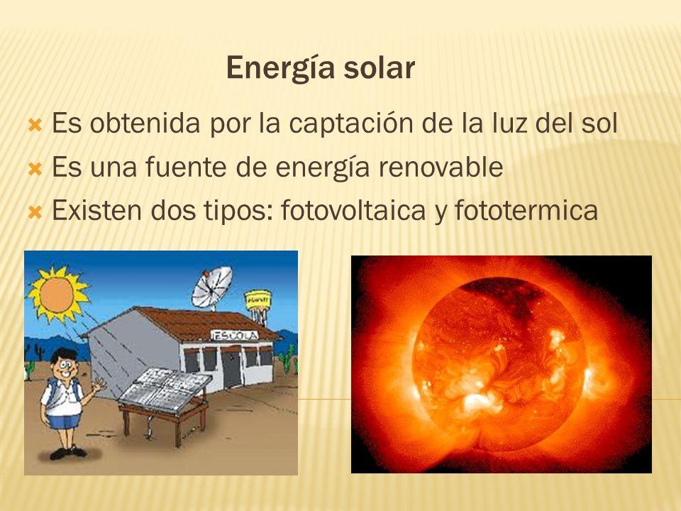 Energía solar Es obtenida por la captación de la luz del sol