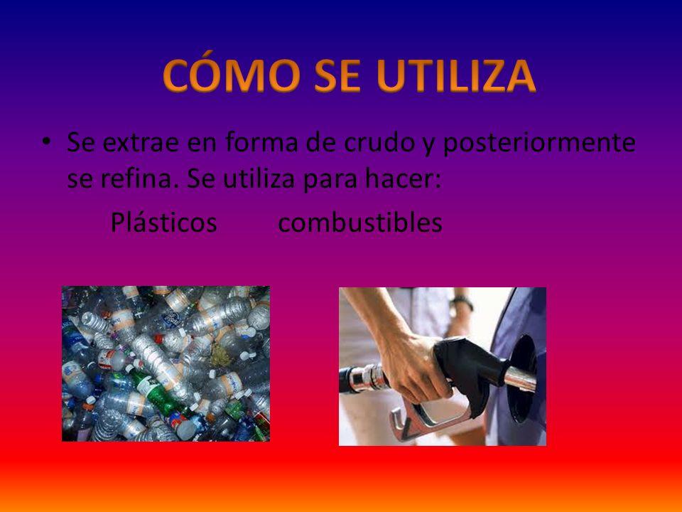 CÓMO SE UTILIZA Se extrae en forma de crudo y posteriormente se refina. Se utiliza para hacer: Plásticos combustibles.