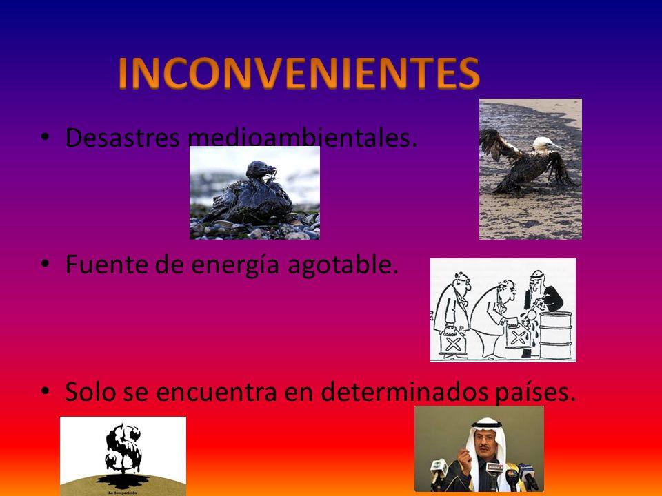 INCONVENIENTES Desastres medioambientales. Fuente de energía agotable.