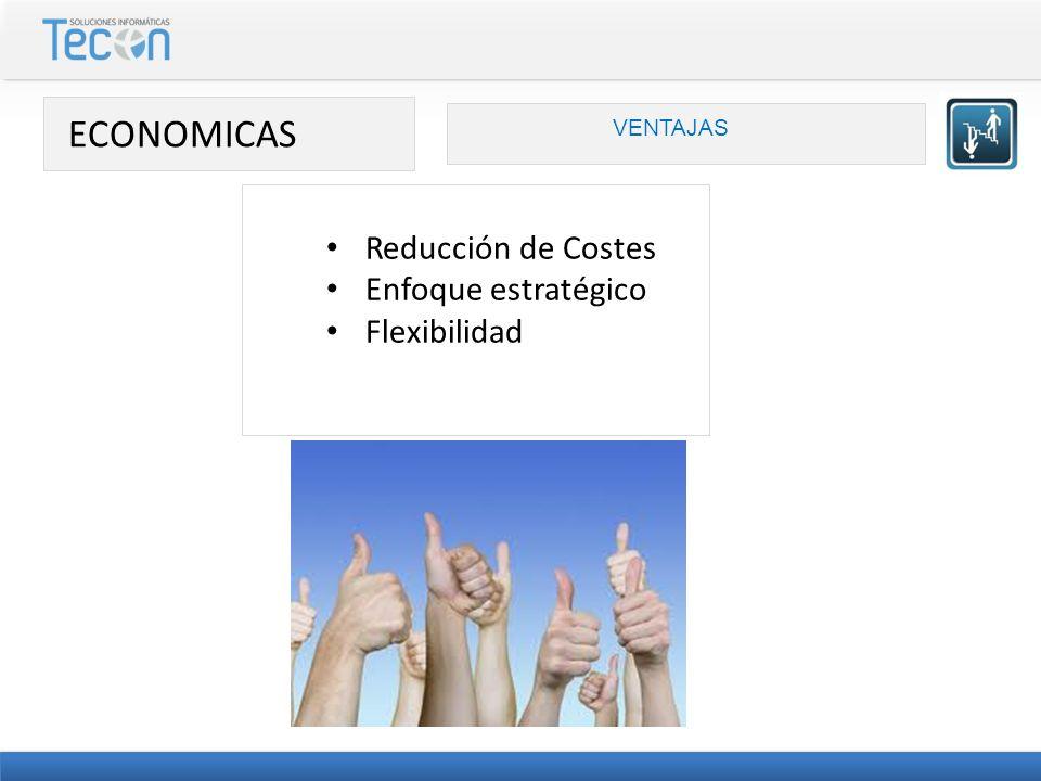 ECONOMICAS Reducción de Costes Enfoque estratégico Flexibilidad
