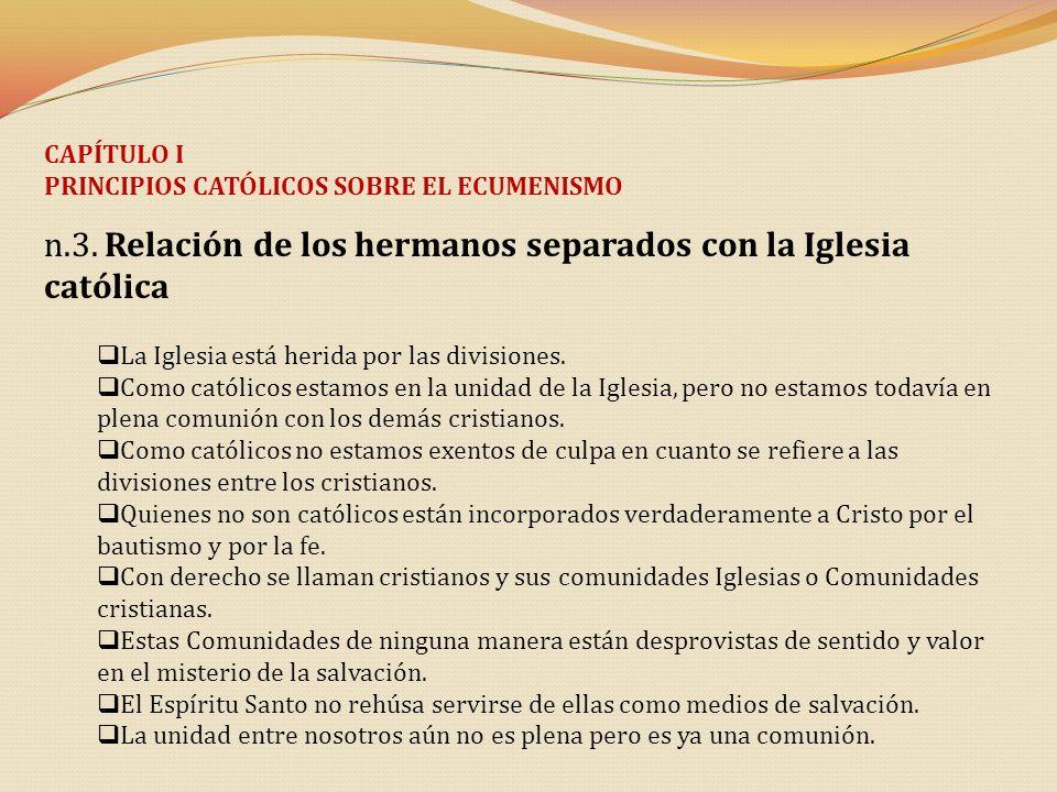 n.3. Relación de los hermanos separados con la Iglesia católica