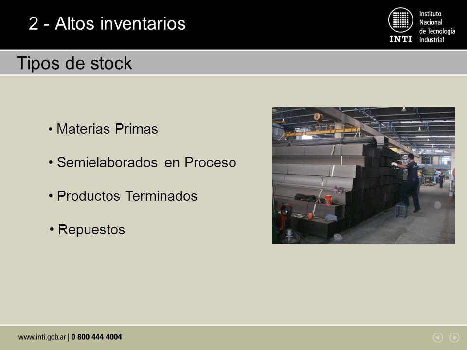 2 - Altos inventarios Tipos de stock • Semielaborados en Proceso