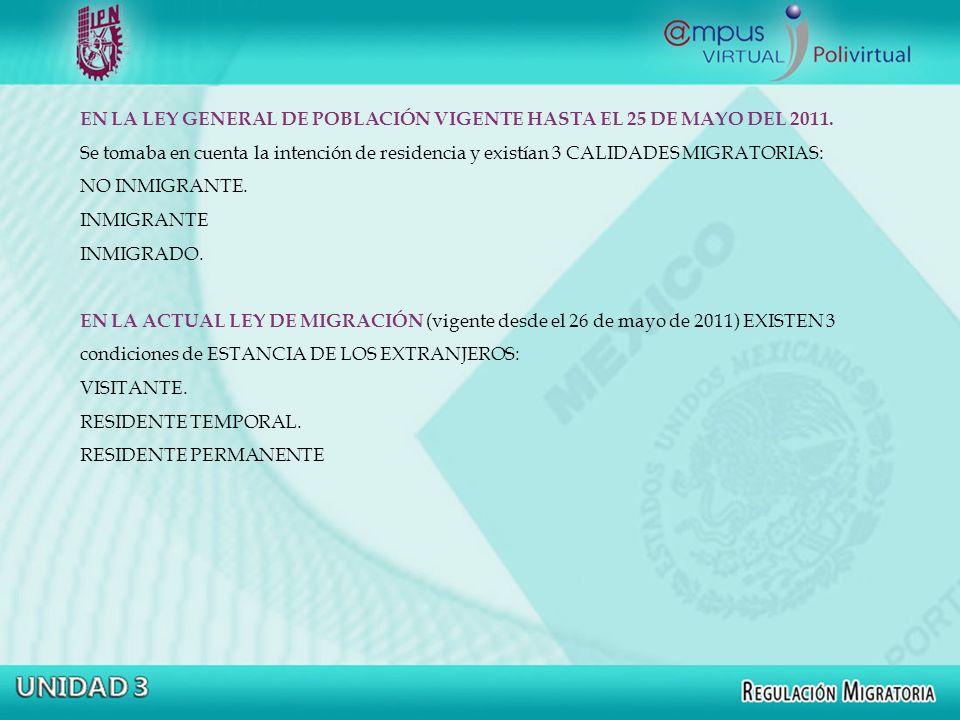 EN LA LEY GENERAL DE POBLACIÓN VIGENTE HASTA EL 25 DE MAYO DEL 2011