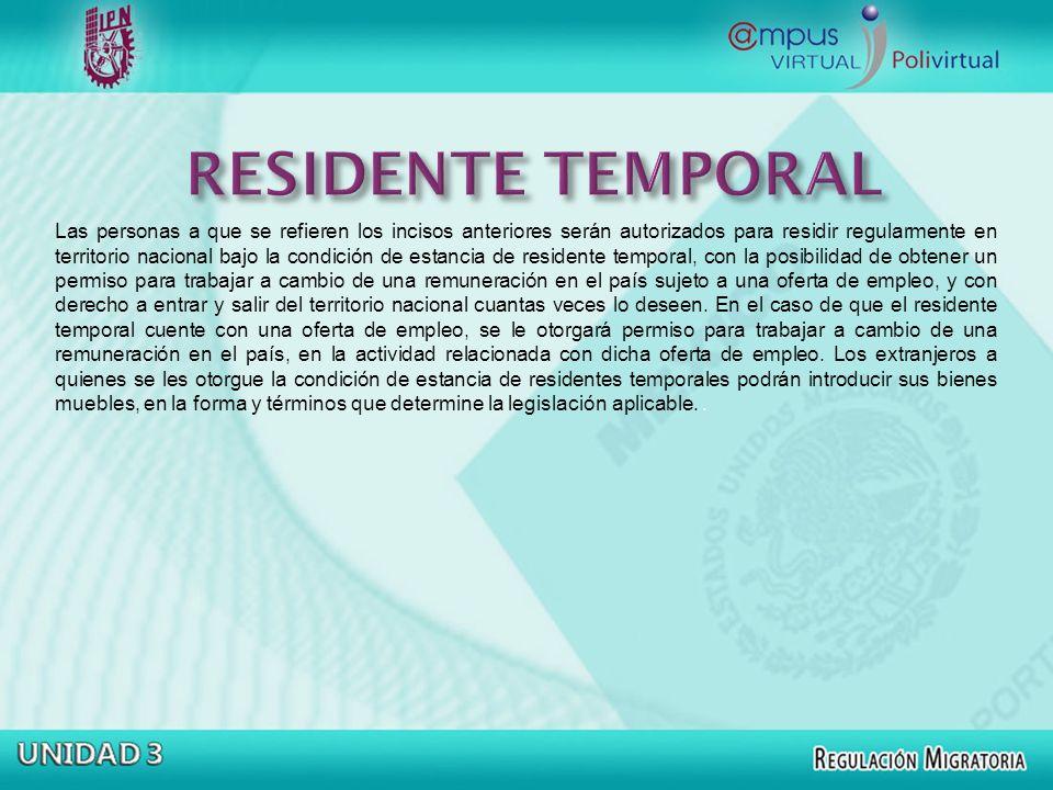 RESIDENTE TEMPORAL