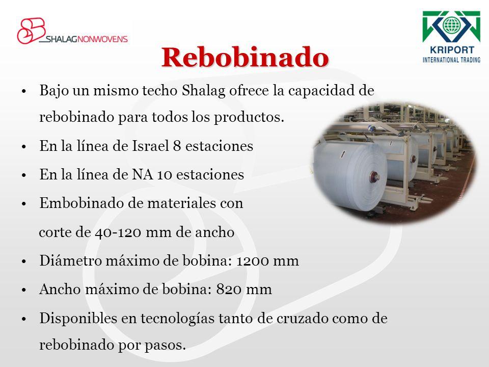 Rebobinado Bajo un mismo techo Shalag ofrece la capacidad de rebobinado para todos los productos. En la línea de Israel 8 estaciones.