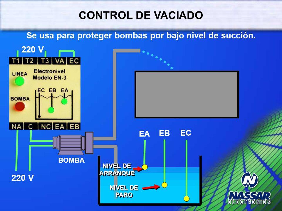 Se usa para proteger bombas por bajo nivel de succión.