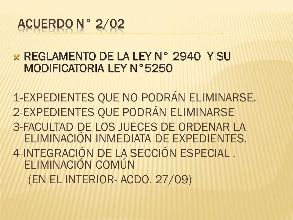 ACUERDO N° 2/02 REGLAMENTO DE LA LEY N° 2940 Y SU MODIFICATORIA LEY N°5250. 1-EXPEDIENTES QUE NO PODRÁN ELIMINARSE.