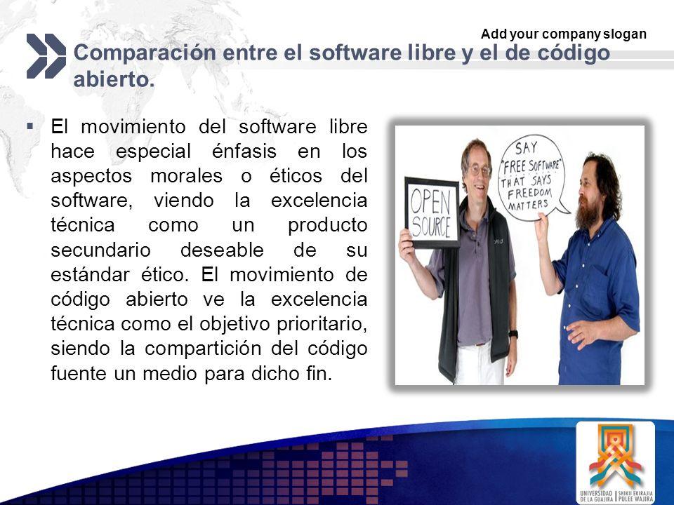 Comparación entre el software libre y el de código abierto.