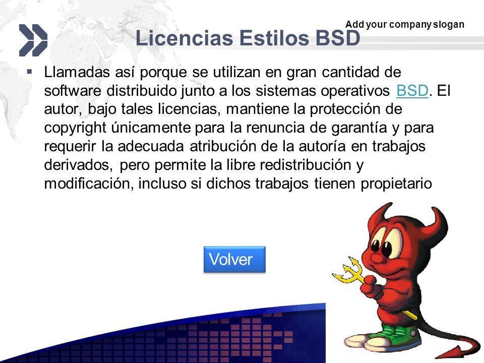 Licencias Estilos BSD Volver