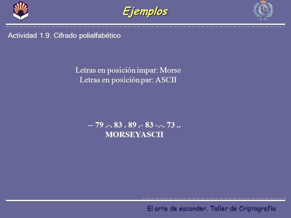 Ejemplos Letras en posición impar: Morse Letras en posición par: ASCII