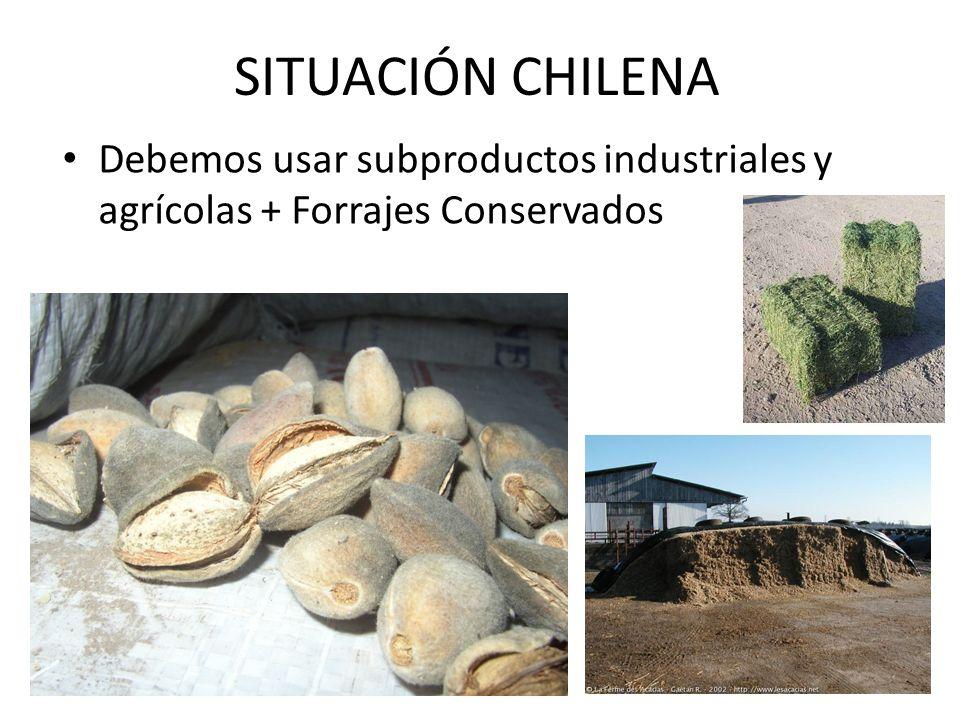 SITUACIÓN CHILENA Debemos usar subproductos industriales y agrícolas + Forrajes Conservados