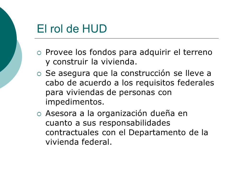 El rol de HUD Provee los fondos para adquirir el terreno y construir la vivienda.