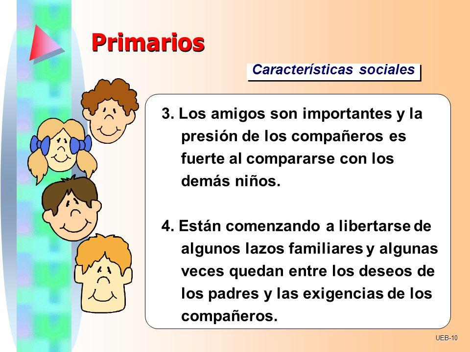 Primarios Características sociales. . 3. Los amigos son importantes y la presión de los compañeros es fuerte al compararse con los demás niños.