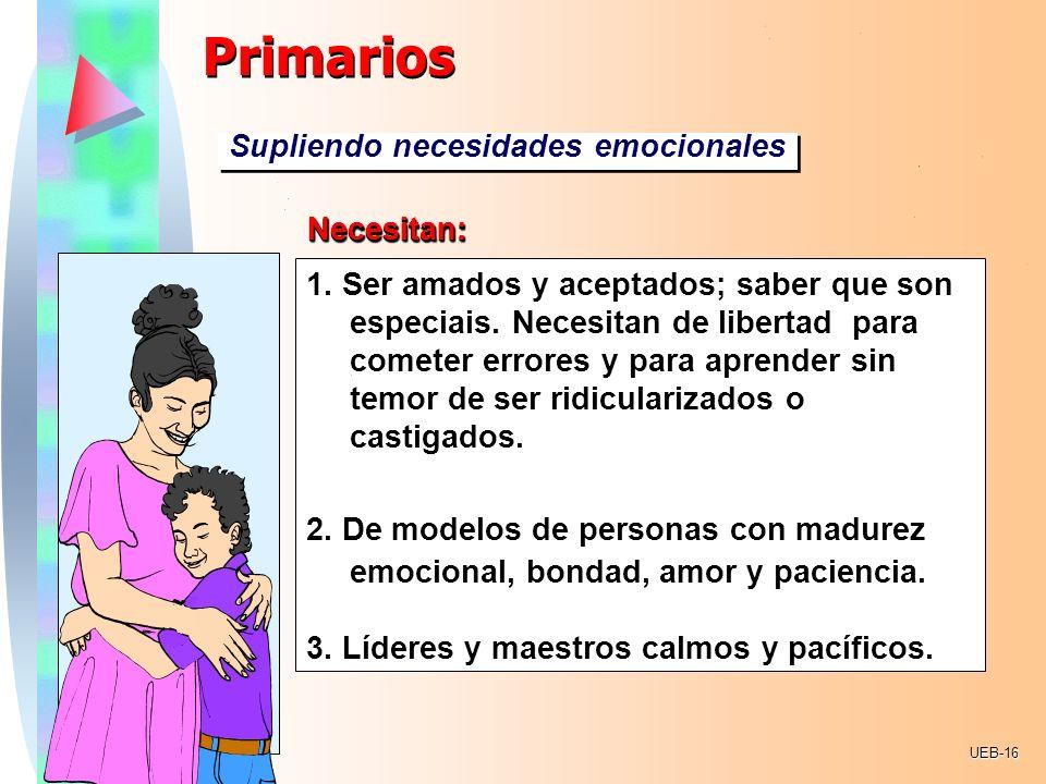 Primarios Supliendo necesidades emocionales Necesitan: