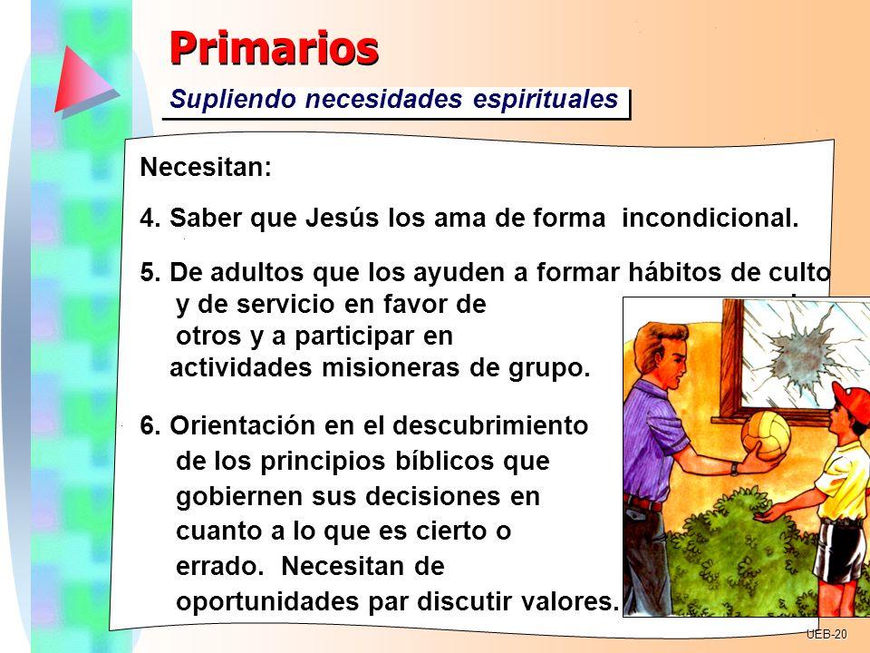 Primarios Supliendo necesidades espirituales Necesitan: