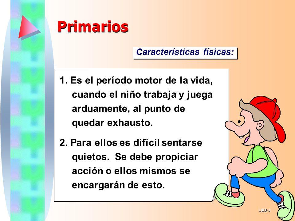 PrimariosCaracterísticas físicas: 1. Es el período motor de la vida, cuando el niño trabaja y juega arduamente, al punto de quedar exhausto.