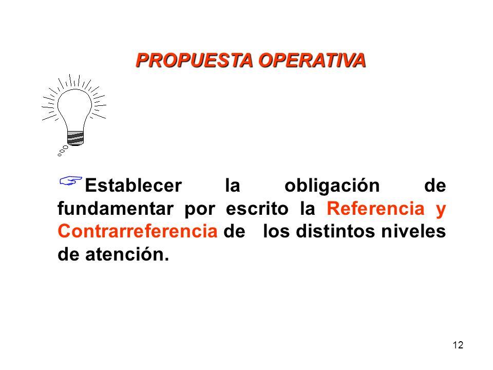 PROPUESTA OPERATIVA Establecer la obligación de fundamentar por escrito la Referencia y Contrarreferencia de los distintos niveles de atención.