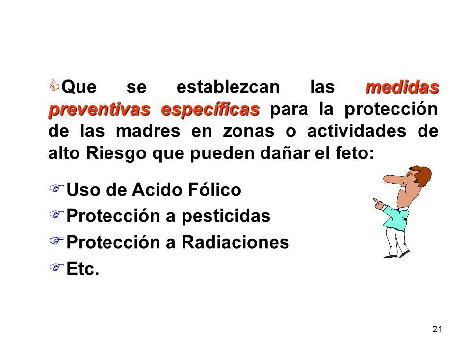 Que se establezcan las medidas preventivas específicas para la protección de las madres en zonas o actividades de alto Riesgo que pueden dañar el feto: