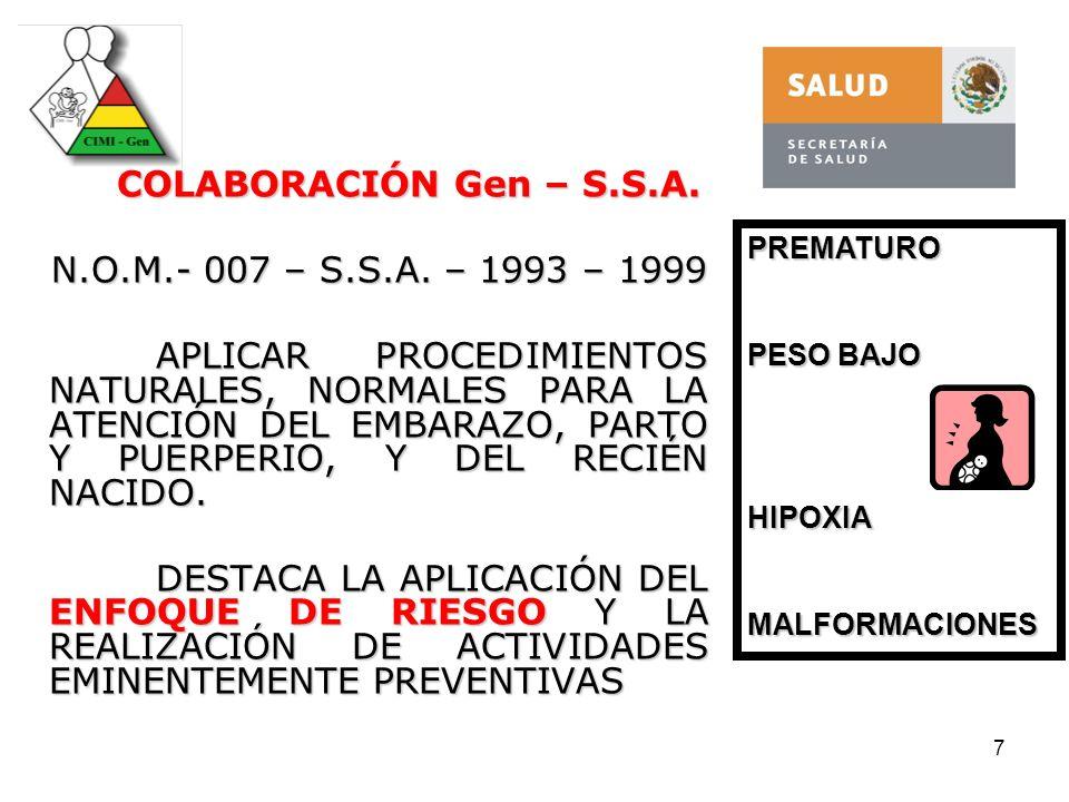COLABORACIÓN Gen – S.S.A. N.O.M.- 007 – S.S.A. – 1993 – 1999