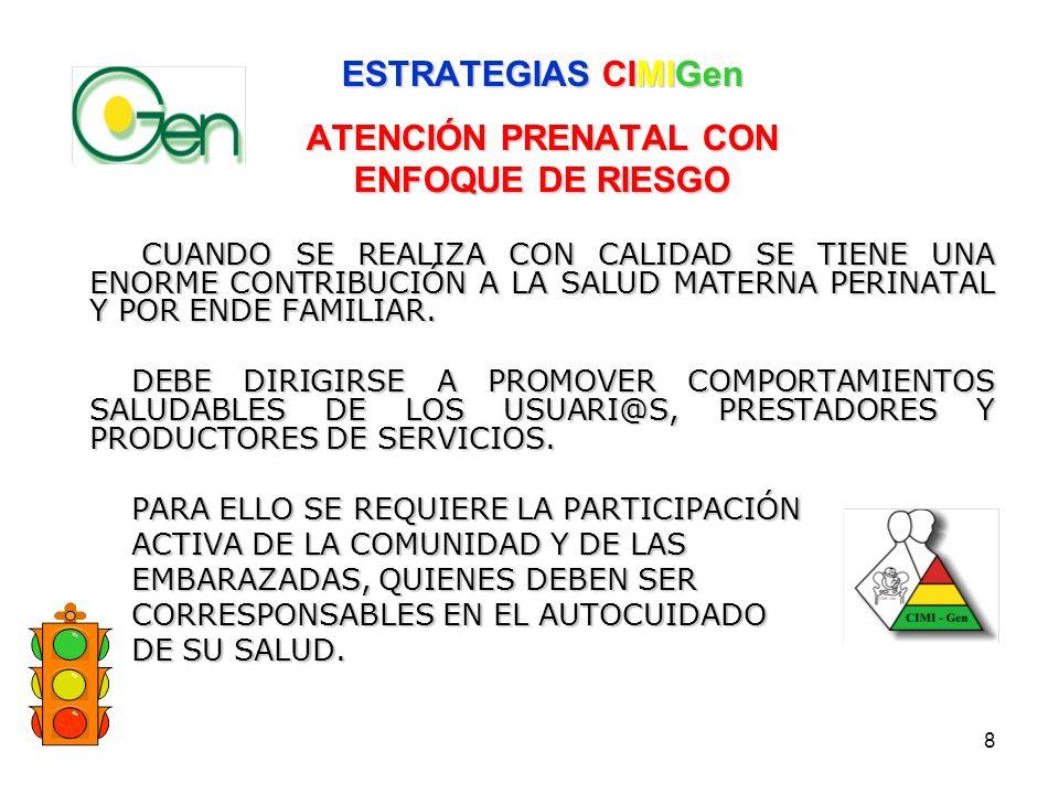 ESTRATEGIAS CIMIGen ATENCIÓN PRENATAL CON ENFOQUE DE RIESGO