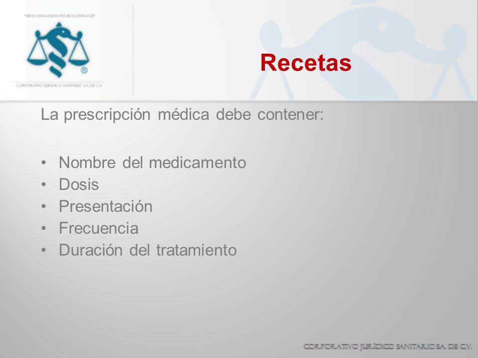 Recetas La prescripción médica debe contener: Nombre del medicamento