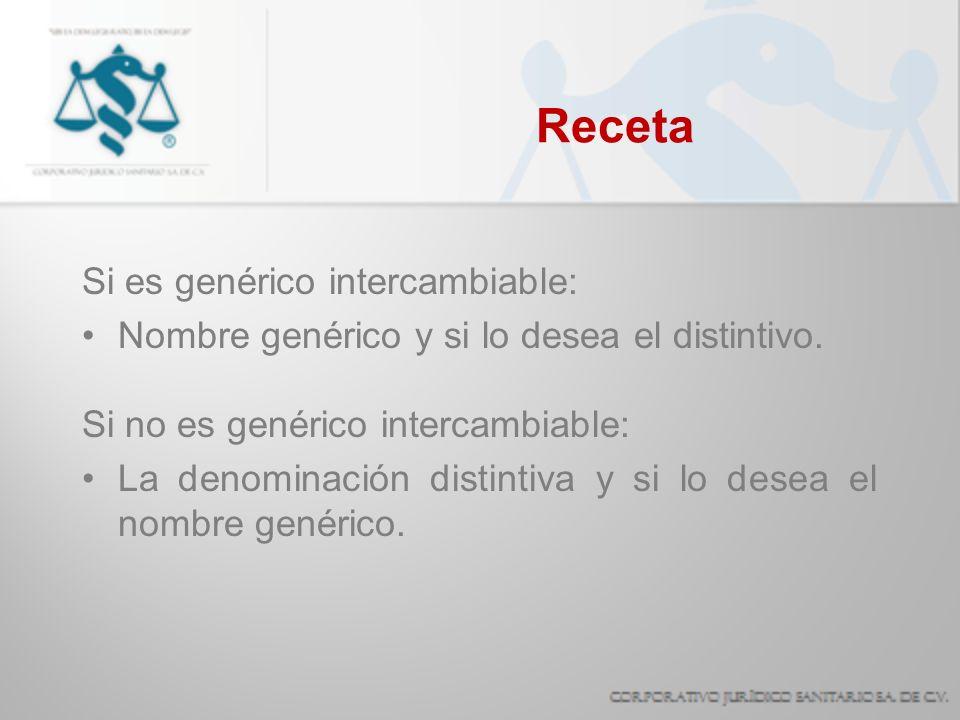 Receta Si es genérico intercambiable: