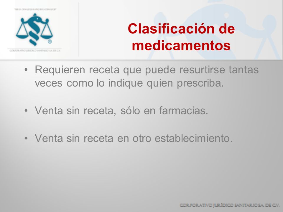 Clasificación de medicamentos