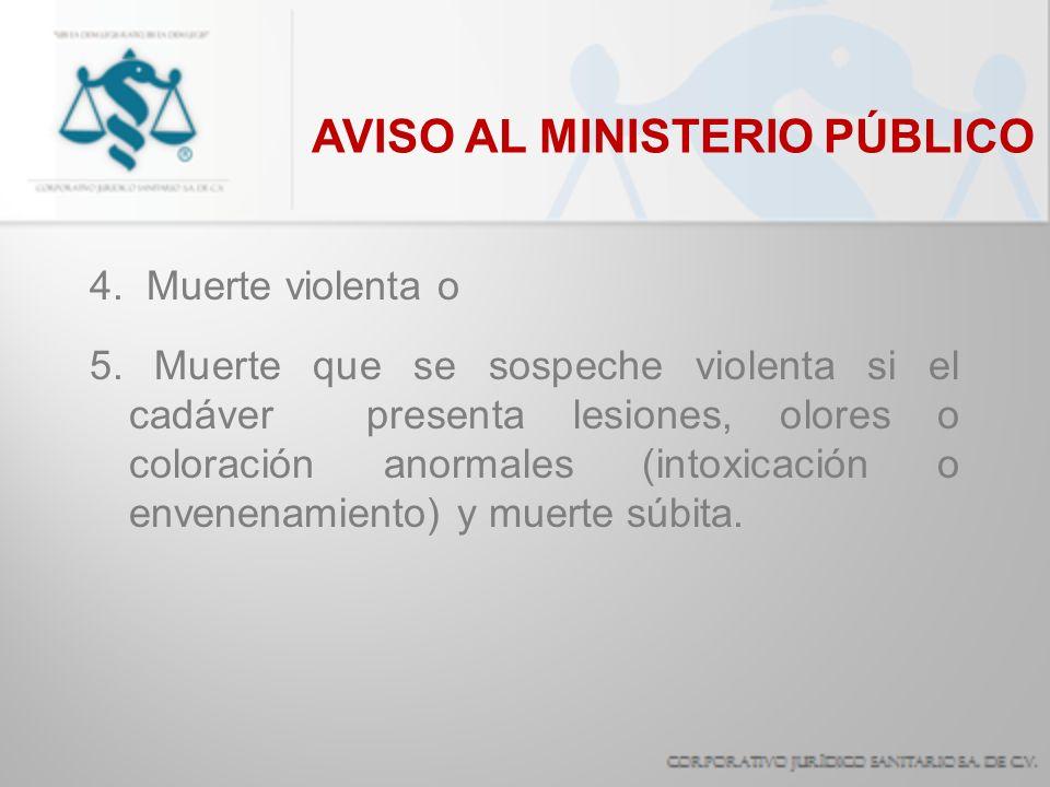 AVISO AL MINISTERIO PÚBLICO