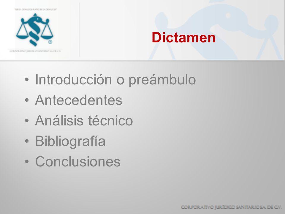 Dictamen Introducción o preámbulo Antecedentes Análisis técnico Bibliografía Conclusiones