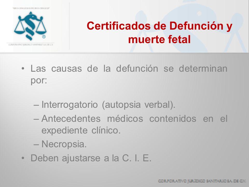 Certificados de Defunción y muerte fetal