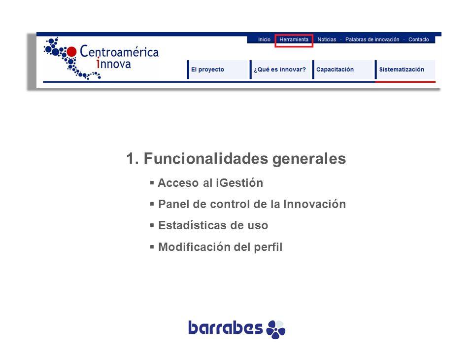 Funcionalidades generales